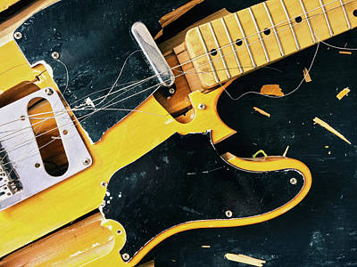Musical Instruments Wall Art - Photograph - Old Broken Electric Guitar by GoodMood Art