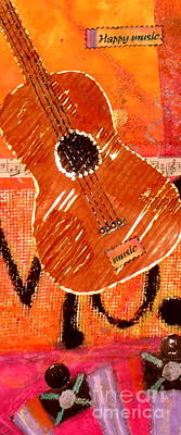 Cardboard Mixed Media - Old Brown Guitar by Angela L Walker