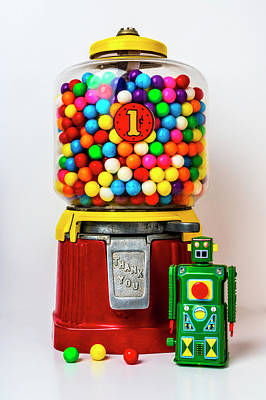 Photograph - Old Bubblegum Machine And Green Robot by Garry Gay