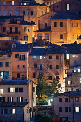 Photograph - Old Building Background At Night Siena Italy by Songquan Deng