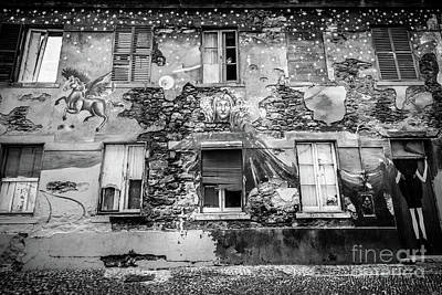 Black Unicorn Photograph - Old Building Mural In Funchal, Madeira, Portugal, Blk Wht by Liesl Walsh