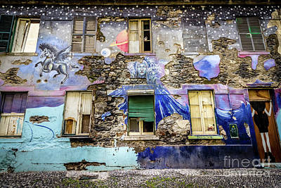Black Unicorn Photograph - Old Building Mural In Funchal, Madeira, Portugal by Liesl Walsh
