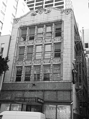 Photograph - Old Building With Chippendale Top In Dtla Bw  by Hold Still Photography