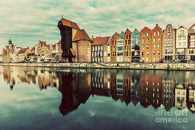 Photograph - Old Buildings And Zuraw Crane Near Motlawa River In Gdansk by Michal Bednarek