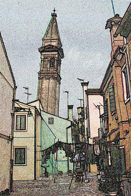 Drawing - Old Burano Tower - Color Pencil by Art America Gallery Peter Potter