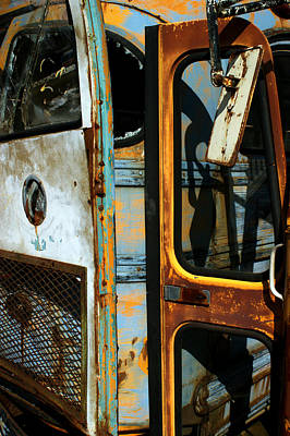 Old School Bus Photograph - Old Bus Doors by Off The Beaten Path Photography - Andrew Alexander