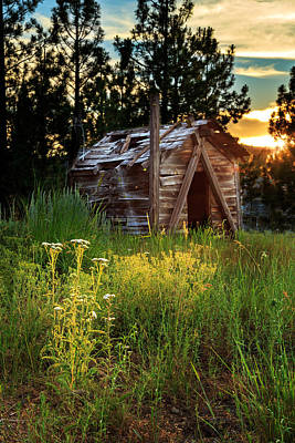 Old Cabin At Sunset Art Print