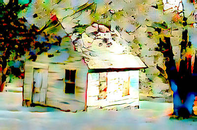 Mixed Media - Old Cabin In Snow by Femina Photo Art By Maggie