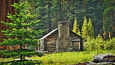 Digital Art - Old Cabin In The Redwoods by Walter Colvin