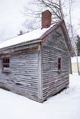 Photograph - Old Cabin In The Snow Musterfield Farm North Sutton by Edward Fielding