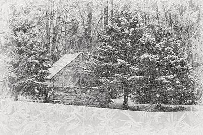 Snowy Trees Mixed Media - Old Cabin In Winter by Maria Dryfhout