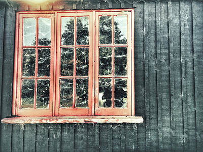 Torn Photograph - Old Cabin Window by Tom Gowanlock