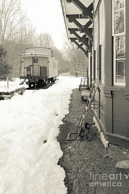 Photograph - Old Caboose At Period Train Depot Winter by Edward Fielding