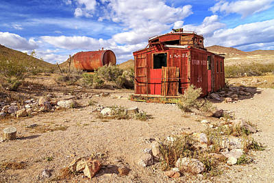 Old Caboose At Rhyolite Print by James Eddy
