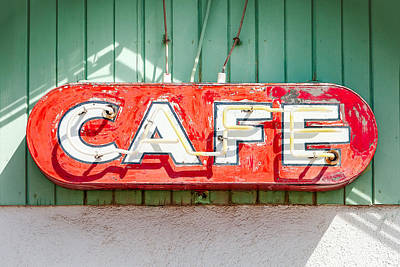 American Food Photograph - Old Cafe Sign by Todd Klassy