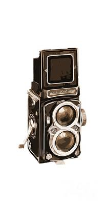 Vintage Camera Painting - Old Camera Phone Case by Edward Fielding