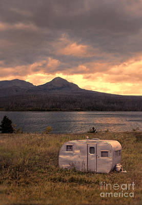 Photograph - Old Camping Trailer By A Mountain Lake by Jill Battaglia