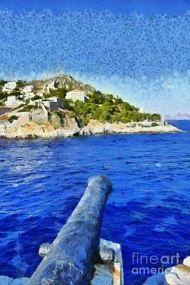Painting - Old Cannon In Hydra Island by George Atsametakis