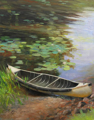 Autumn Scene Painting - Old Canoe by Anna Rose Bain