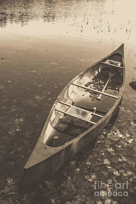 Photograph - Old Canoe On A Lake Eastman Pond Grantham New Hampshire by Edward Fielding