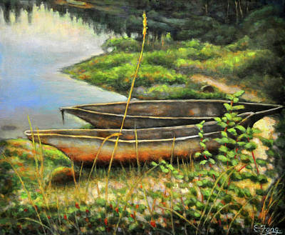 Painting - Old Canoes At Rest by Eileen  Fong