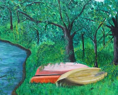 Painting - Old Canoes by Vikki Angel