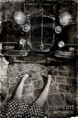Photograph - Old Car And The Girl. by Andrey  Godyaykin