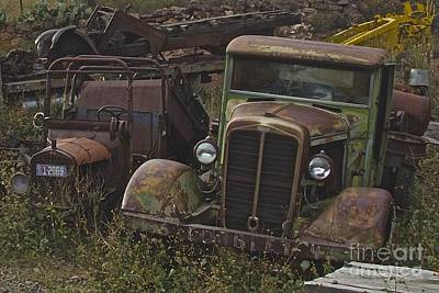 Salvage Photograph - Old Car And Truck by Anthony Jones