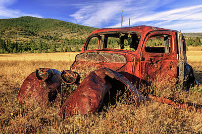 Photograph - Old Car At Susanville Ranch by James Eddy