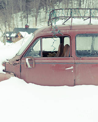 Photograph - Old Car Buried In The Snow Woodstock Vermont by Edward Fielding