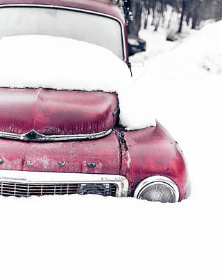Photograph - Old Car In A Snow Bank by Edward Fielding