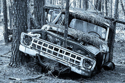Photograph - Old Car In Black And White by Menachem Ganon