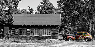 Photograph - Old Car, Old Garage by Rick Lawler