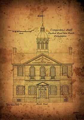 Old Carpenters Hall Blueprint - Philadelphia Art Print