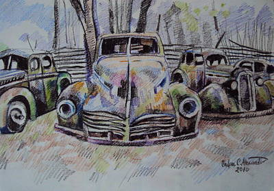 Drawing - Old Cars by Chifan Catalin  Alexandru