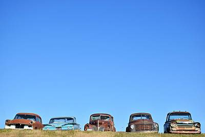Photograph - Old Cars In A Field by Steven Liveoak