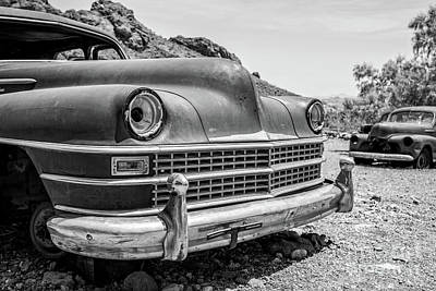 Photograph - Old Cars In The Desert, Eldorado Canyon, Nevada Bw by Edward Fielding