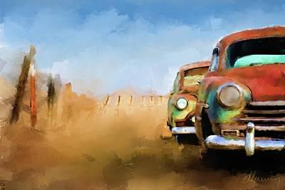 Old Cars Rusting Painting Art Print by Michael Greenaway