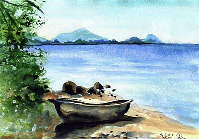 Art Print featuring the painting Old Carved Boat At Lake Malawi by Dora Hathazi Mendes