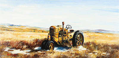 Snow Scene Landscape Painting - Old Case Tractor by Gary Wynn