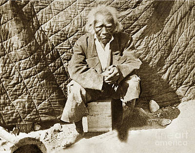 Photograph - Old Cassiano - 136 Years Old In 1888. San Antonio Mission Indian by California Views Mr Pat Hathaway Archives