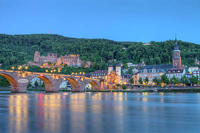 Photograph - Old Castle And Carl-theodor Bridge, Heidelberg, Germany, Hdr by Elenarts - Elena Duvernay photo