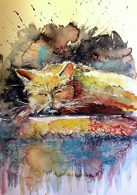 Painting - Old Cat Resting by Kovacs Anna Brigitta