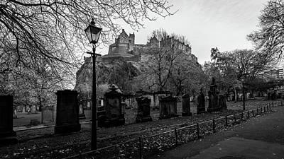 Photograph - Old Cemetery With Edinburgh Castle In Background by Jacek Wojnarowski