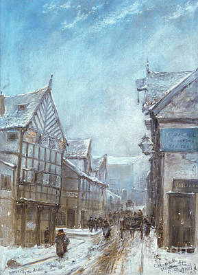 Old Street Painting - Old Cheapside, Warrington, 1864 by George Sheffield