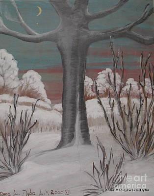 Old Cherry Tree In Winter Art Print by Anna Folkartanna Maciejewska-Dyba