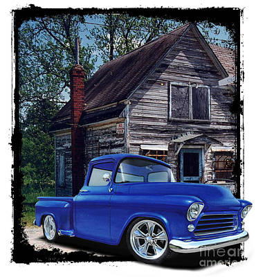 Hot Rod Mixed Media - Old Chevy, Old Building by Paul Kuras