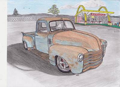 Street Rod Drawing - Old Chevy Truck At Mcdonalds by Darrell Leonard