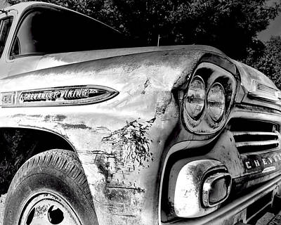 Photograph - Old  Chevy Truck -black And White Photograph by Ann Powell