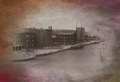 Turn-of-the-century Mixed Media - Old Chicago 11 River View Textured by Thomas Woolworth